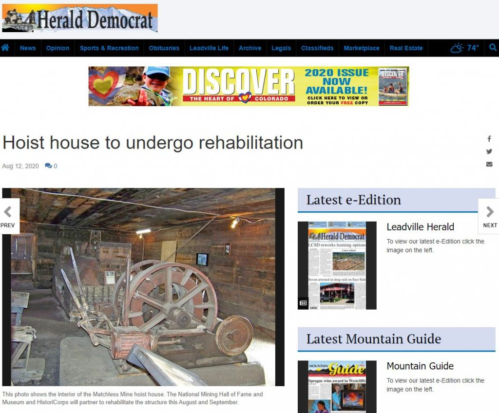 2020-08-18 16_56_53-Hoist house to undergo rehabilitation _ Free Content _ leadvilleherald